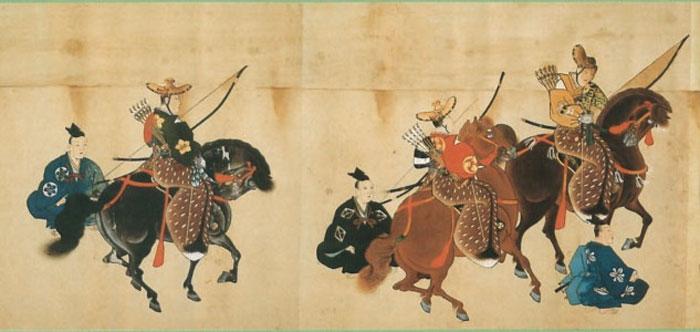 dibujo tradicional de samurais a caballo con arcos