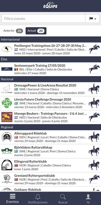 vista de la página principal de la aplicación equipe