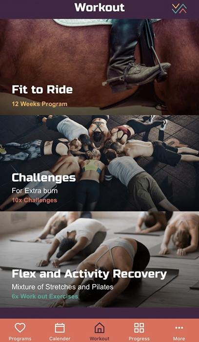 Pantallazo de las apps ecuestres de entrenamiento para el jinete y amazona Heels Down Fitness