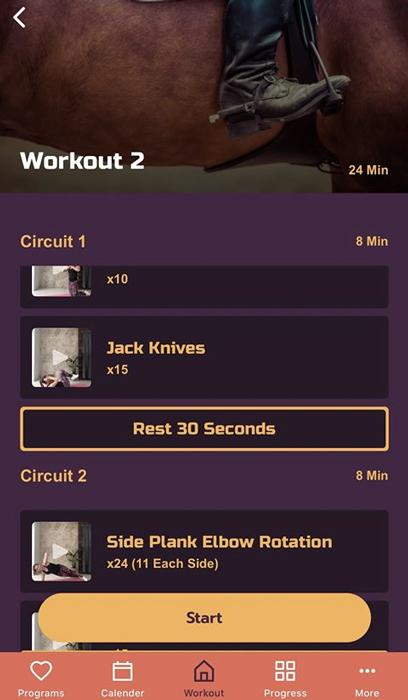 Pantallazo de la aplicación de entrenamiento para el jinete y amazona Heels Down Fitness