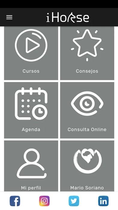 panel menú principal ihorse app para jinetes