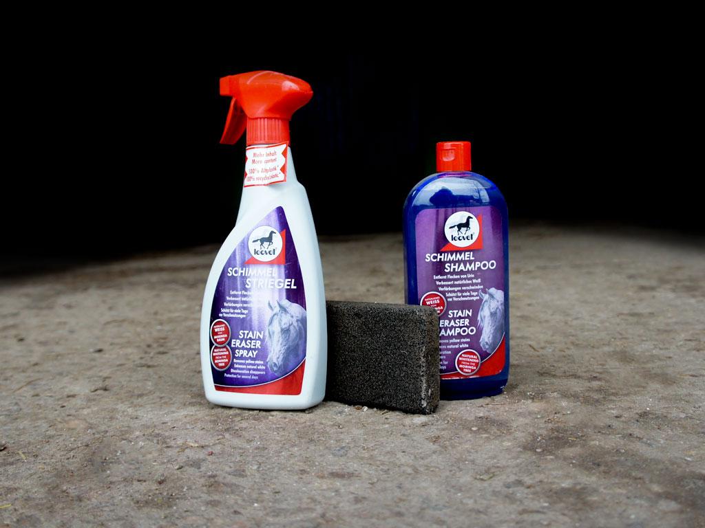 productos que uso a para la limpieza de caballos tordos: spray blanqueante, piedra pómez y champú morado