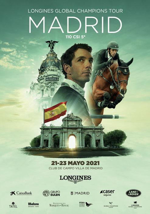 cartel del longines global champions tour de madrid 2021 con eduardo alvarez aznar como protagonista